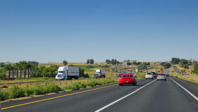 Weekend traffic on I-25 in Colorado, USA Royalty Free Stock Photos