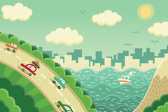 Weekend trip away from the city. Cars going away from city to the summer vacation trip. Or maybe somebody moving to the new house in the big city stock illustration