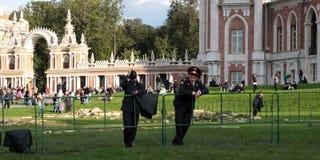 Weekend in the Tsaritsyno garden. Police. Police are standing in the Tsaritsyno garden in Moscow at the weelends Stock Photos