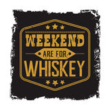 Weekend are for whiskey motto. Weekend are for whiskey, motto in black frame with stars, vintage american whisky lable decor, vector t-shirt design style Stock Photo