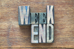 Weekend wood word Stock Photography
