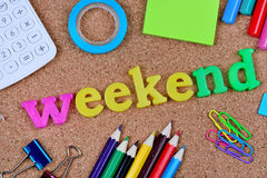 Weekend word on cork background Royalty Free Stock Photo