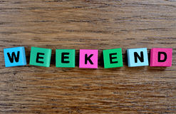 Weekend word on table Royalty Free Stock Image