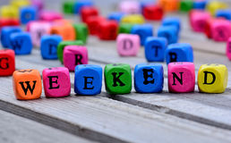 Weekend word on table Stock Photo