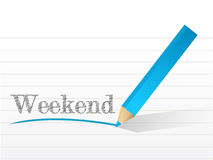 Weekend written on a notepad paper. Stock Photography