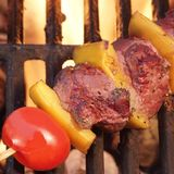 Weekendbbq de Kebab of de Kebab van het Vleesrundvlees bij de Vlammende Grill Royalty-vrije Stock Foto's