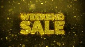 Weekendowa sprzedaż życzy powitanie kartę, zaproszenie, świętowanie fajerwerk
