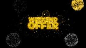 Weekendowej oferty złoty tekst mruga cząsteczki z złotym fajerwerku pokazem