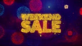 Weekendowej sprzedaży powitania teksta błyskotania cząsteczki na barwionych fajerwerkach