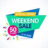 Weekendowy super sprzedaży specjalnej oferty sztandar Fotografia Royalty Free