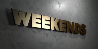 Weekends - Gold sign mounted on glossy marble wall  - 3D rendered royalty free stock illustration Royalty Free Stock Photo