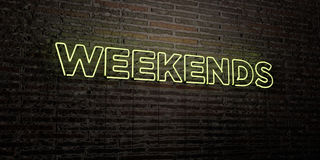 WEEKENDS -Realistic Neon Sign on Brick Wall background - 3D rendered royalty free stock image Stock Photo