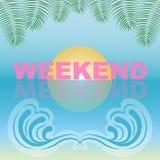 Weekendtypografie op zon en strandonduidelijk beeldachtergrond Allen voor de Zomervakantie en vakantie Vector Illustratie