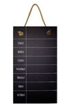 Weekly Calendar on chalkboard . 7 day plan. Isolated on white background, Rope hanging Royalty Free Stock Photos