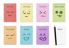 Weekly calendar with face drawing Royalty Free Stock Photography