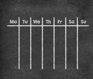 Weekly calendar for full week. Weekly calendar full week from Monday to Sunday written with chalk on blackboard Stock Photography
