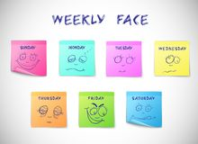 Weekly calendar stickers. Weekly calendar colored peeling stickers with faces characters isolated vector illustration Royalty Free Stock Photo