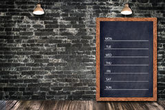 Weekly chalkboard calendar, blackboard sign menu for office restaurant bar home decorative. Royalty Free Stock Photography