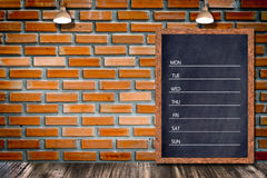Weekly chalkboard calendar, blackboard sign menu for office restaurant bar home decorative. Royalty Free Stock Photos