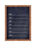 Weekly chalkboard calendar for home or office organization. Stock Images