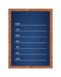 Weekly chalkboard calendar for home or office organization. Weekly chalkboard calendar for home or office organization, Blackboard weekly scheduling planner Royalty Free Stock Image