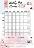 Weekly diet planner. Vector printable page for female notebook, journals or brochure. daily meal planner. Weekly diet planner. Vector printable page for female royalty free illustration