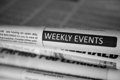 Weekly events in newspaper Stock Images