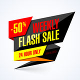 Weekly Flash Sale banner. 24 hour only special offer, up to 50% off Stock Images