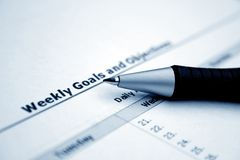 Weekly goals and objectives Royalty Free Stock Photo