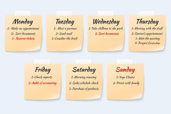 Weekly job plan on sticky notes, ugent work event paper memo vector set Royalty Free Stock Photography