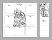 Weekly list design for notepad. Sketchbook, diary mockup. Coloring page. Stock Image