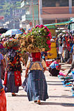 Weekly market in Chichicastenango in Guatemala Stock Images