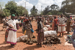 Weekly market of Fasha, Konso region, Ethiopia Stock Photo