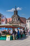 Weekly market in the old town of Bayreuth. 