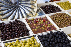 Weekly market olives shop. Macro photo of some kinds of olives in a weekly market shop Royalty Free Stock Images