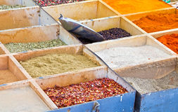 Weekly market spices shop. Macro photo of some kinds of spices in a weekly market shop Stock Photography
