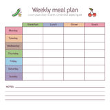 Weekly meal plan, mealtime vector diary Stock Photos