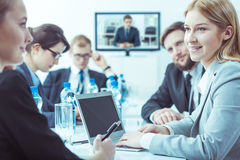 Weekly meeting of the company's management board stock image