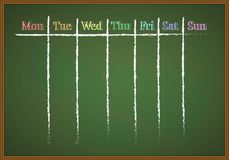 Weekly memo planner. Drawn with chalk on a chalkboard Royalty Free Stock Image