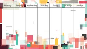Weekly memo planner template. Illustration. Geometric shape abstract background Royalty Free Stock Photos