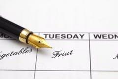 Weekly menu planner Royalty Free Stock Image