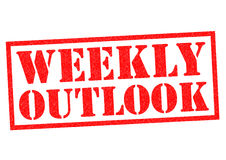 WEEKLY OUTLOOK. Red Rubber Stamp over a white background Royalty Free Stock Photo