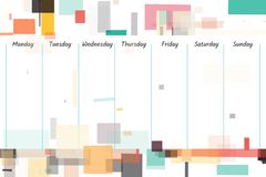 Weekly planne illustration. Weekly planner with abstract rectangle background illustration Royalty Free Stock Photo