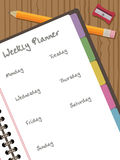Weekly planner. White paper notebook with clipping mask, with pencil and weekly planner Royalty Free Stock Images