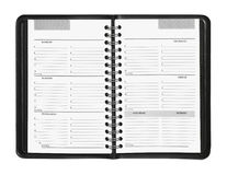 Weekly Planner. Showing hourly schedule isolated on white Royalty Free Stock Images