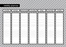 Weekly planner black frame white grey stripe. Weekly planner black frame with white grey stripe pattern background Stock Image