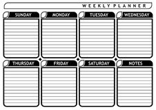 Weekly planner blank Schedule routine. Vector template Stock Photography