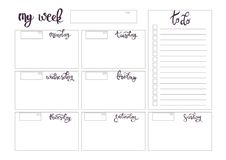 Weekly planner blank template Royalty Free Stock Image