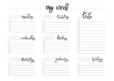 Weekly planner blank template Royalty Free Stock Images