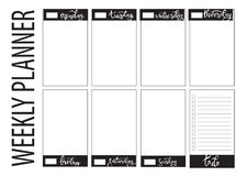 Weekly planner blank template Stock Image